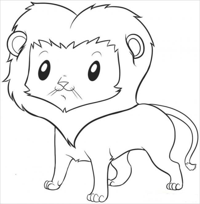Mẫu tranh tô màu sư tử đơn giản