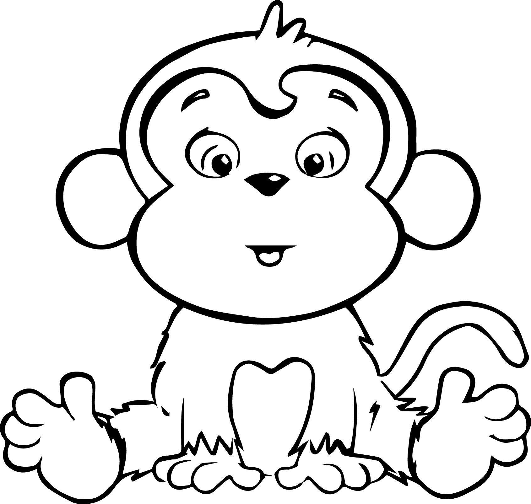 Tranh con khỉ tô màu cho bé