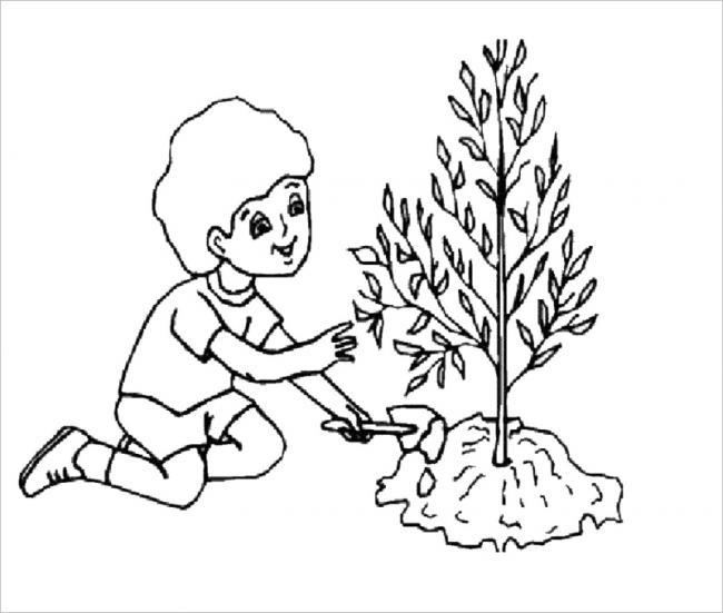 Tranh tô màu bé chăm sóc cây xanh
