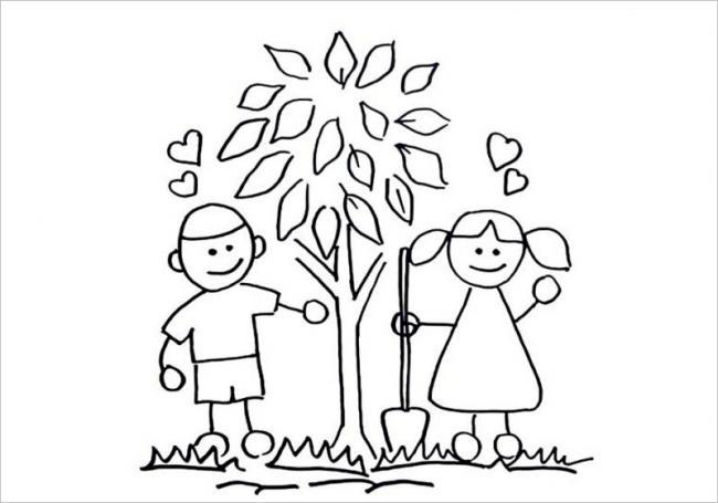 Tranh tô màu bé trồng cây xanh