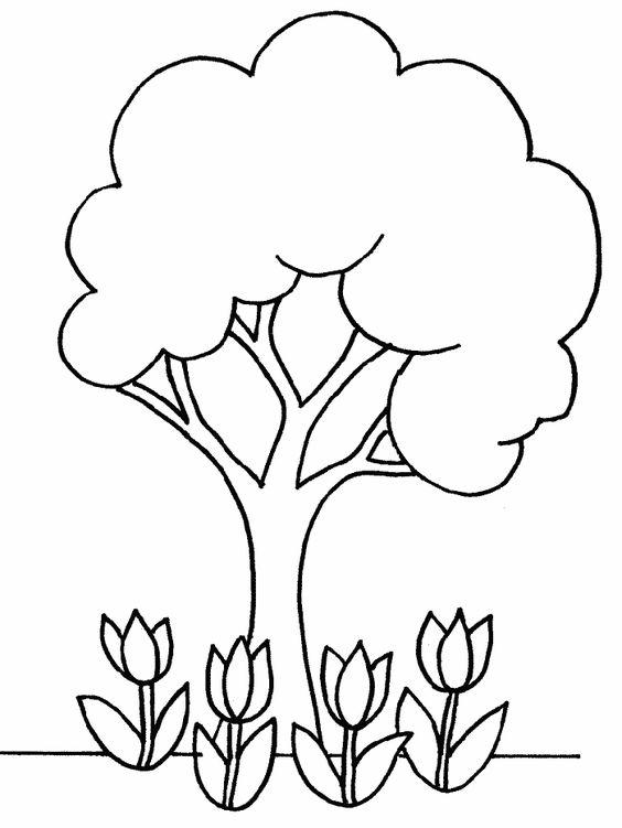 Tranh tô màu cây xanh đơn giản