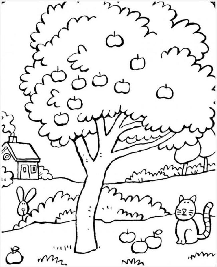 Tranh tô màu cây xanh hoạt hình