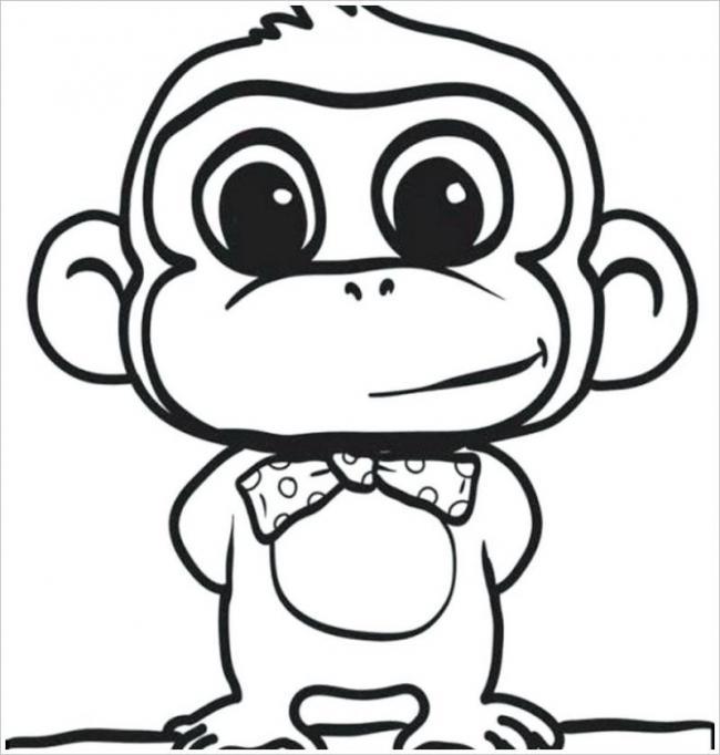 Tranh tô màu chú khỉ đeo nơ