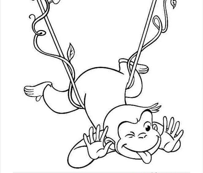 Tranh tô màu chú khỉ ngộ nghĩnh