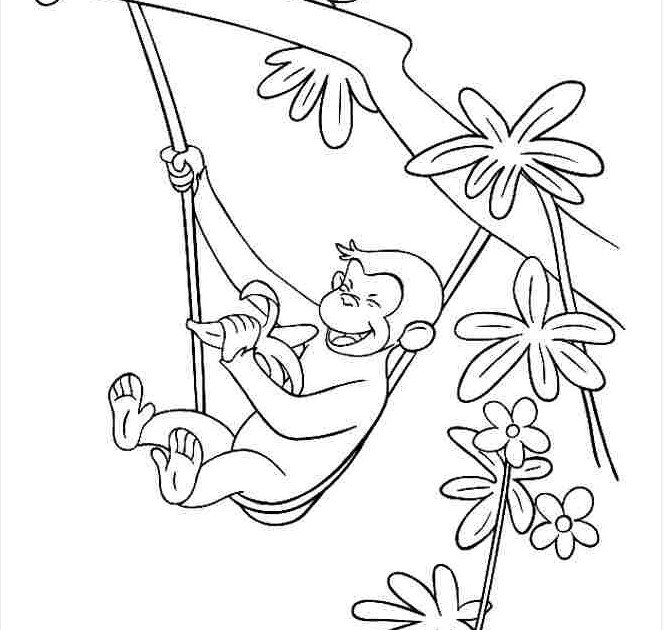 Tranh tô màu con khỉ ăn chuối