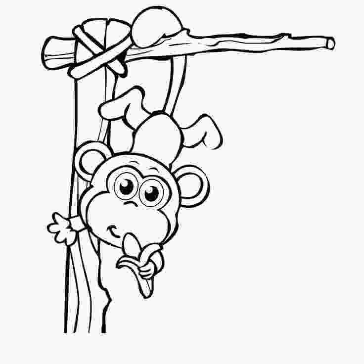 Tranh tô màu con khỉ con đang vui đùa