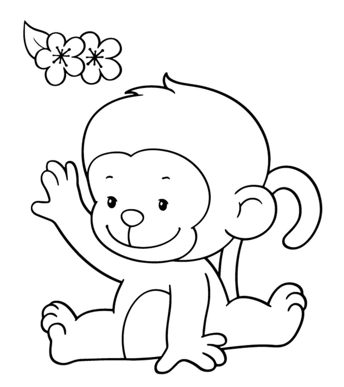 Tranh tô màu con khỉ con