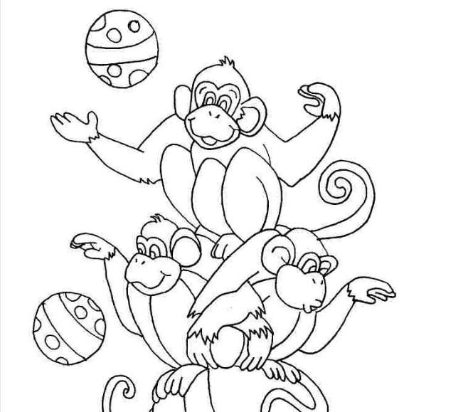 Tranh tô màu con khỉ diễn xiếc