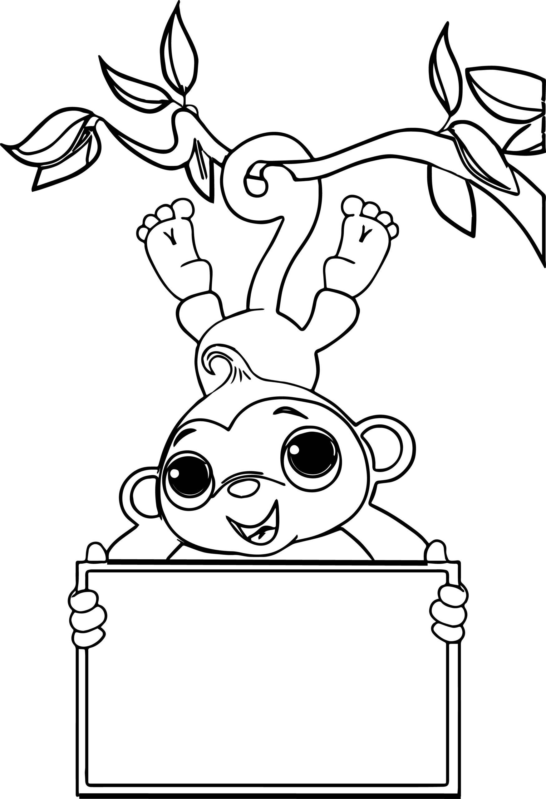 Tranh tô màu con khỉ đu cành cây