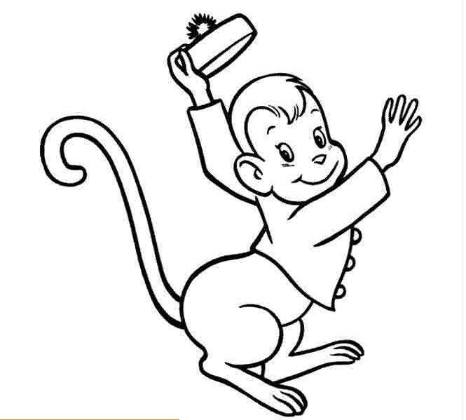 Tranh tô màu con khỉ hóa trang