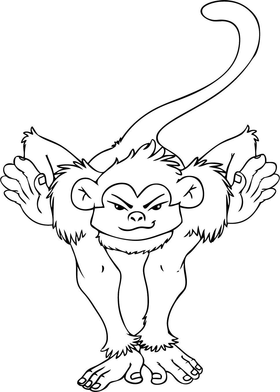Tranh tô màu con khỉ nhào lộn