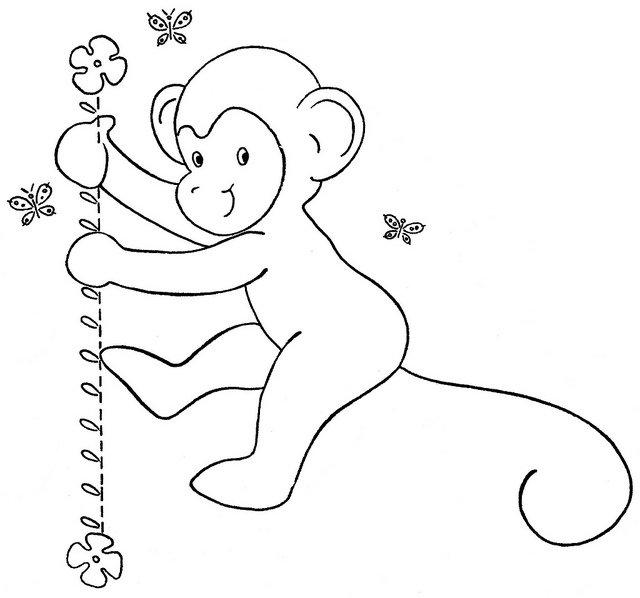 Tranh tô màu con khỉ tinh nghịch