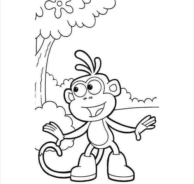 Tranh tô màu con khỉ trong rừng