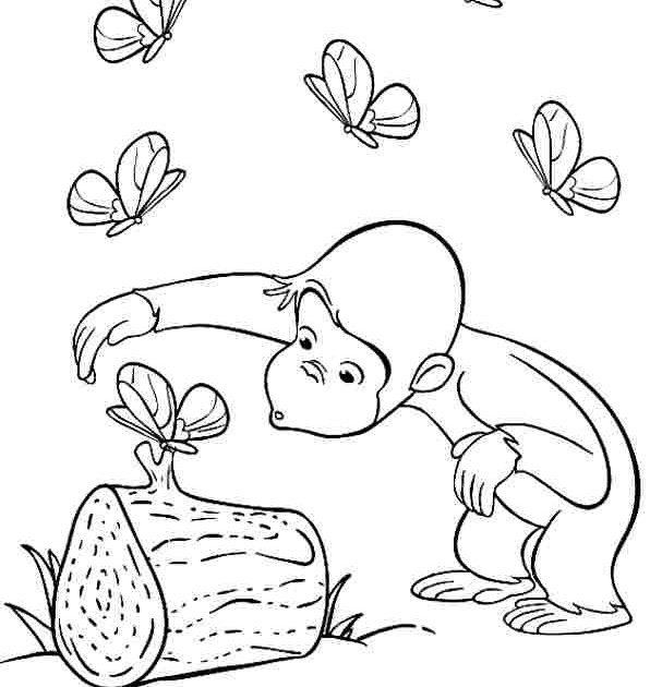 Tranh tô màu con khỉ vui đùa