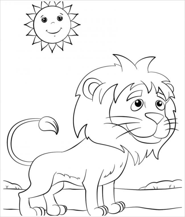 Tranh tô màu con sư tử con