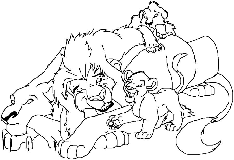 Tranh tô màu đàn sư tử