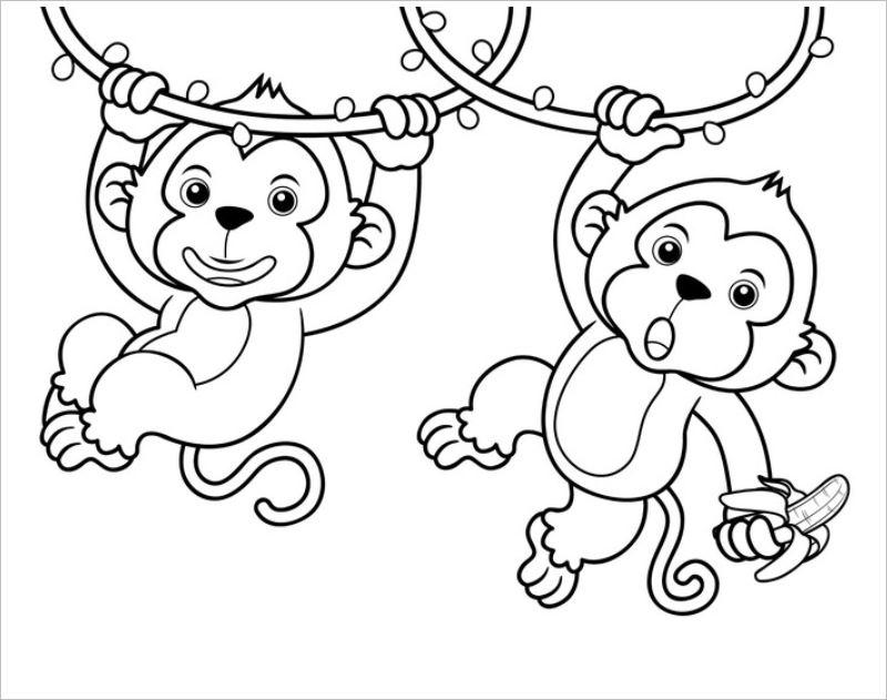 Tranh tô màu hai chú khỉ