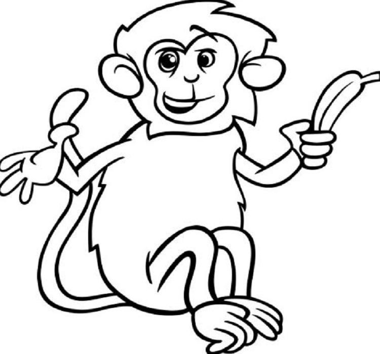 Tranh tô màu khỉ con ăn chuối