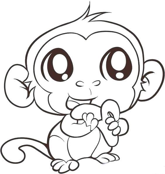 Tranh tô màu khỉ con dễ thương
