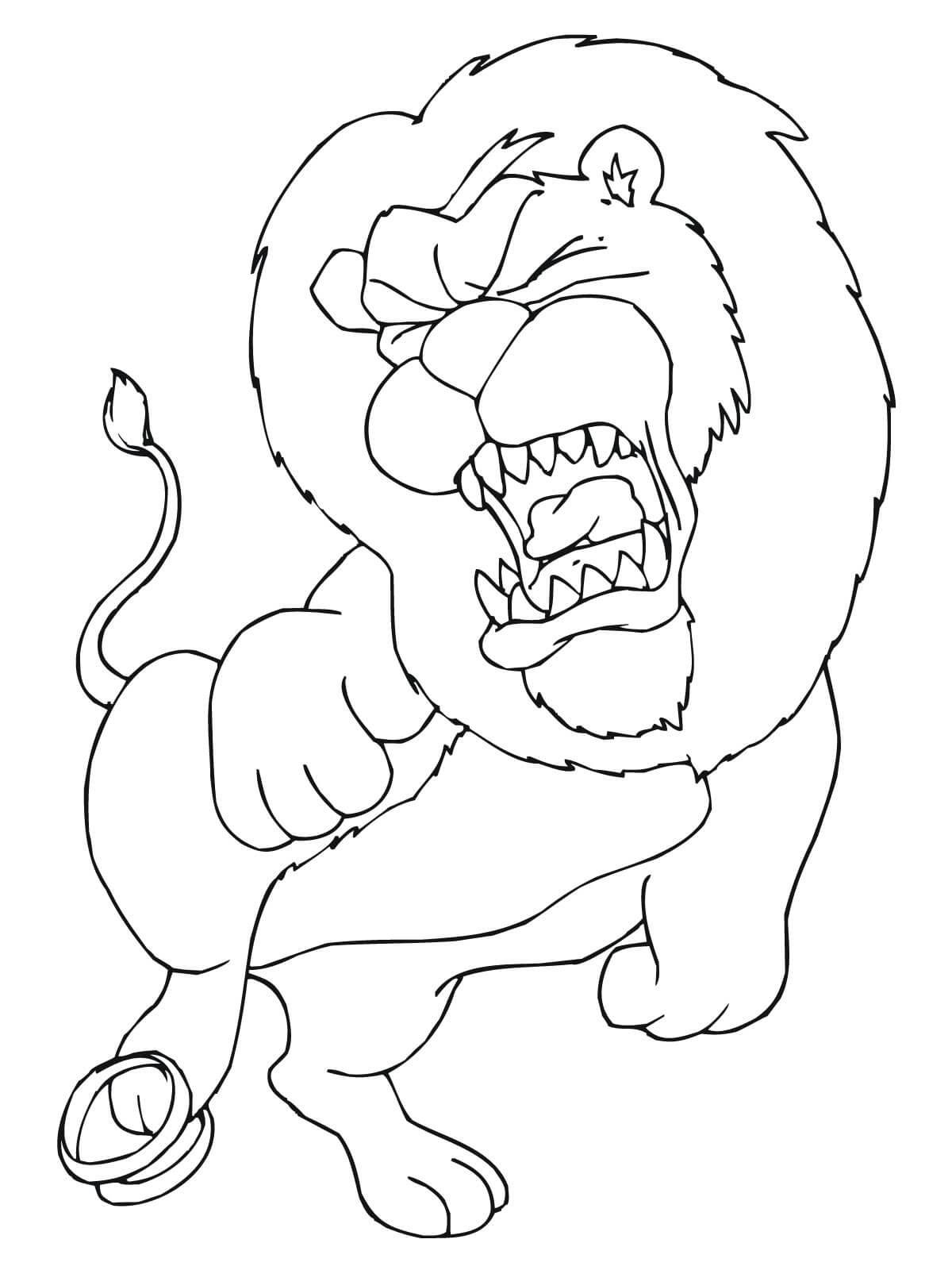 Tranh tô màu sư tử bị đau