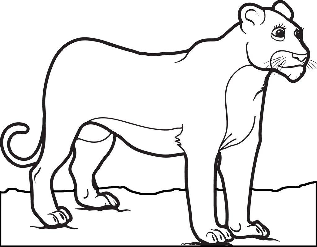 Tranh tô màu sư tử cái