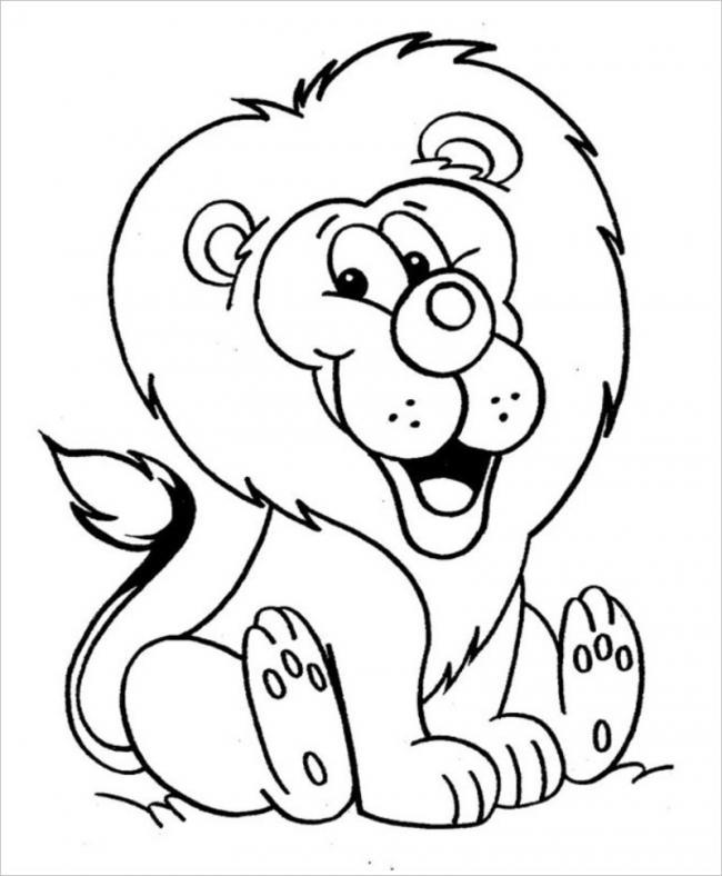 Tranh tô màu sư tử cho bé