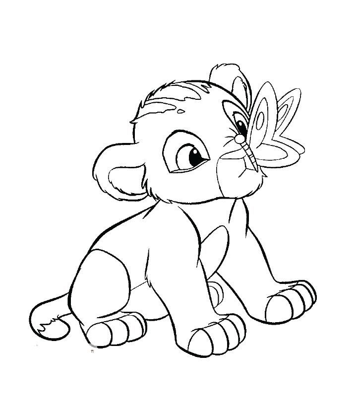 Tranh tô màu sư tử con vui đùa