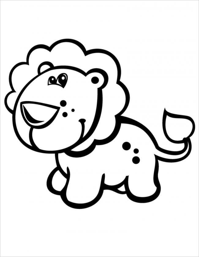 Tranh tô màu sư tử cute