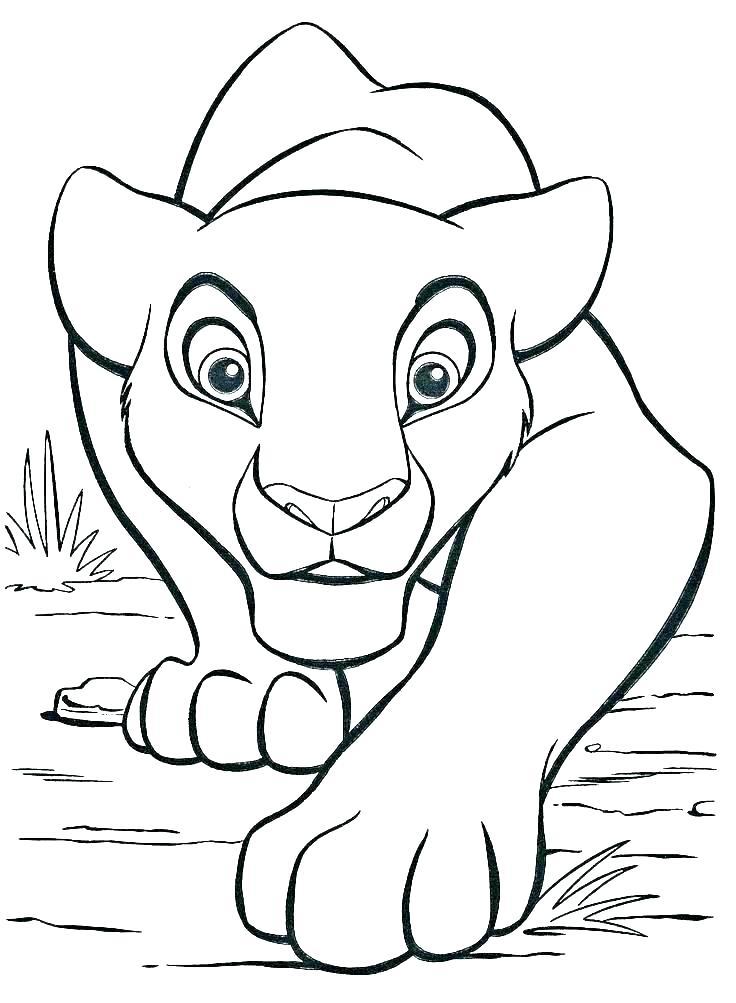 Tranh tô màu sư tử đang bò