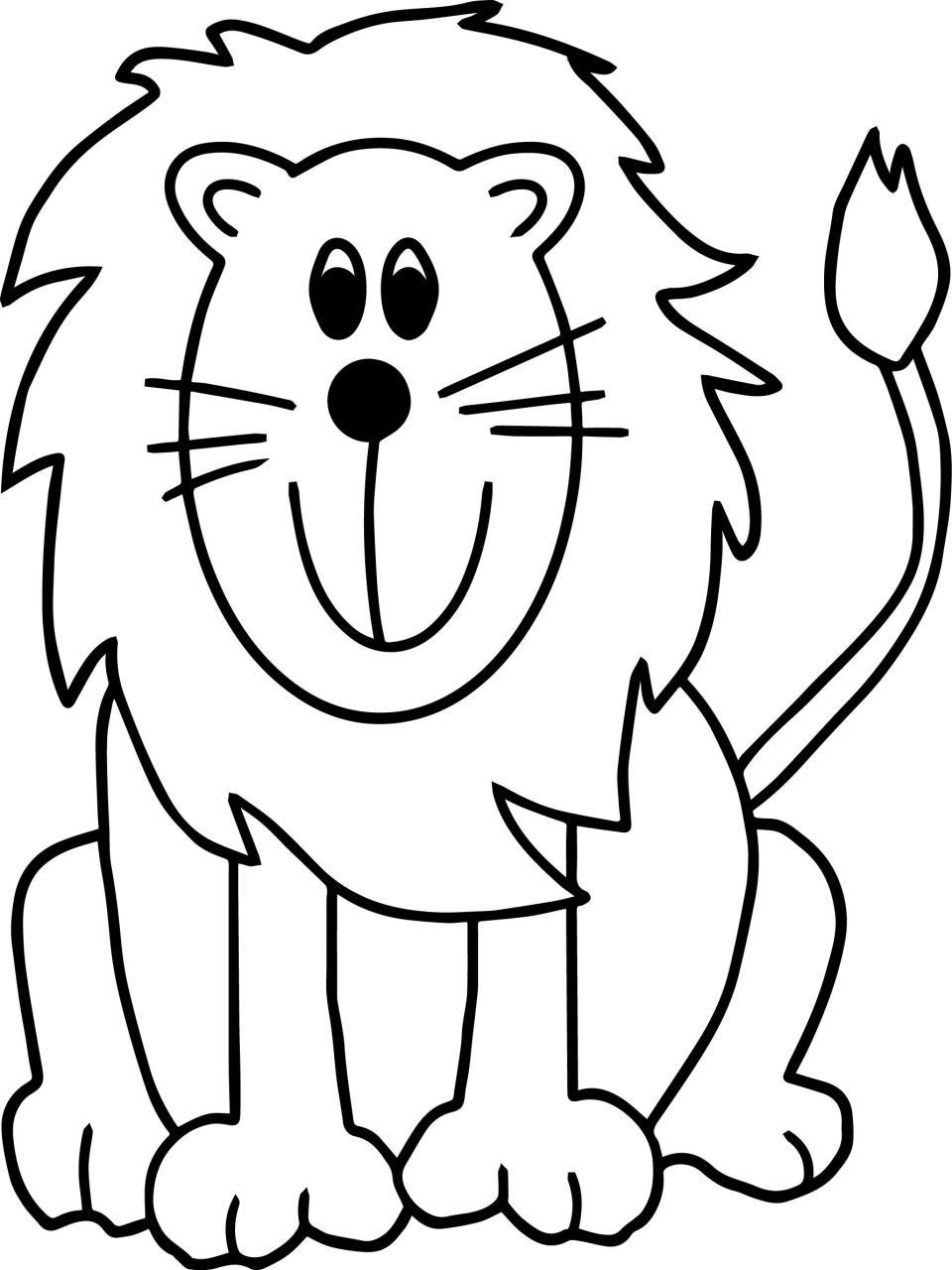 Tranh tô màu sư tử đáng yêu