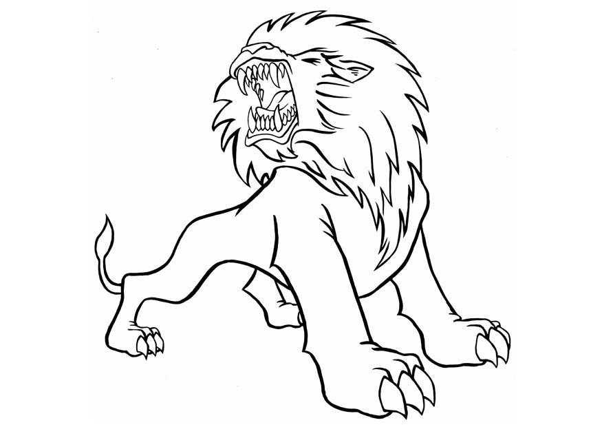 Tranh tô màu sư tử gầm