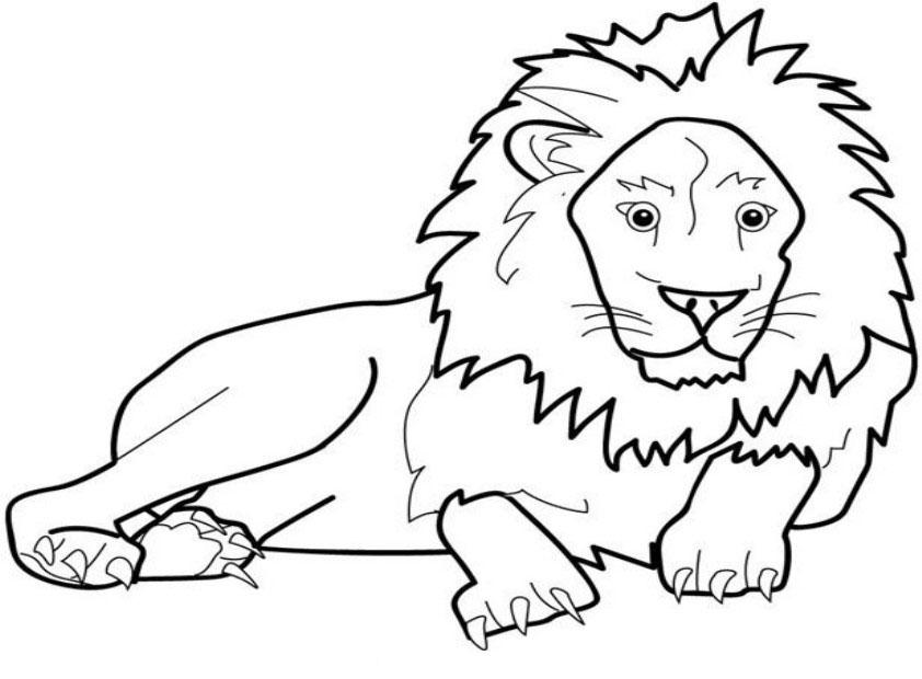 Tranh tô màu sư tử nằm