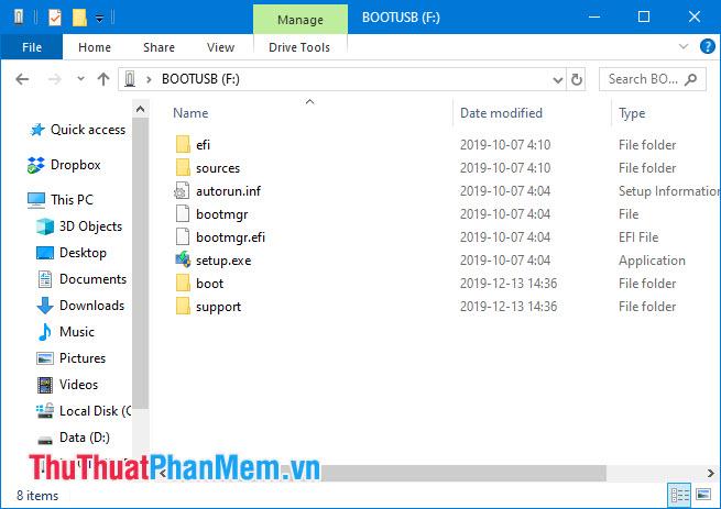 Copy toàn bộ file đã giải nén vào USB Boot