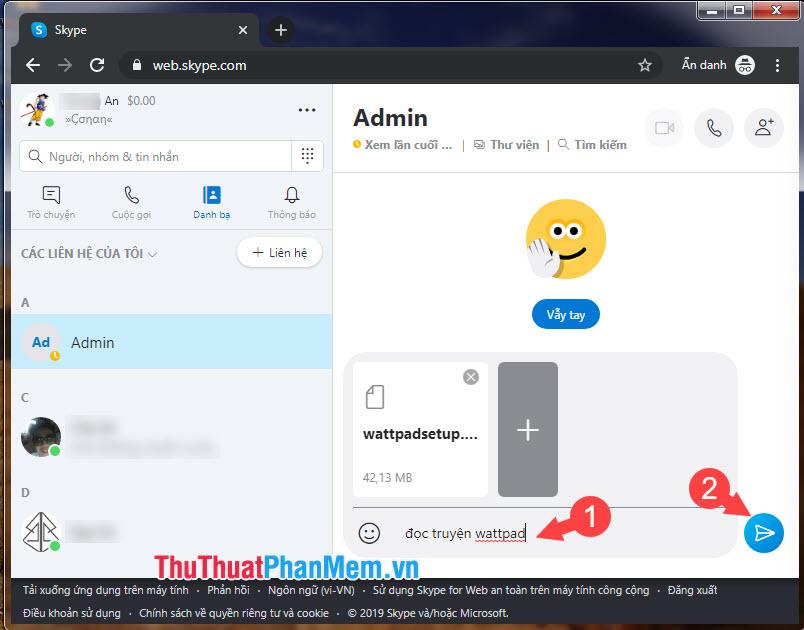 Nhập thêm mô tả cho file cần gửi ở khung chat