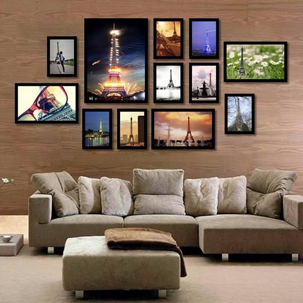 Hình ảnh trang trí phòng khách bằng khung ảnh