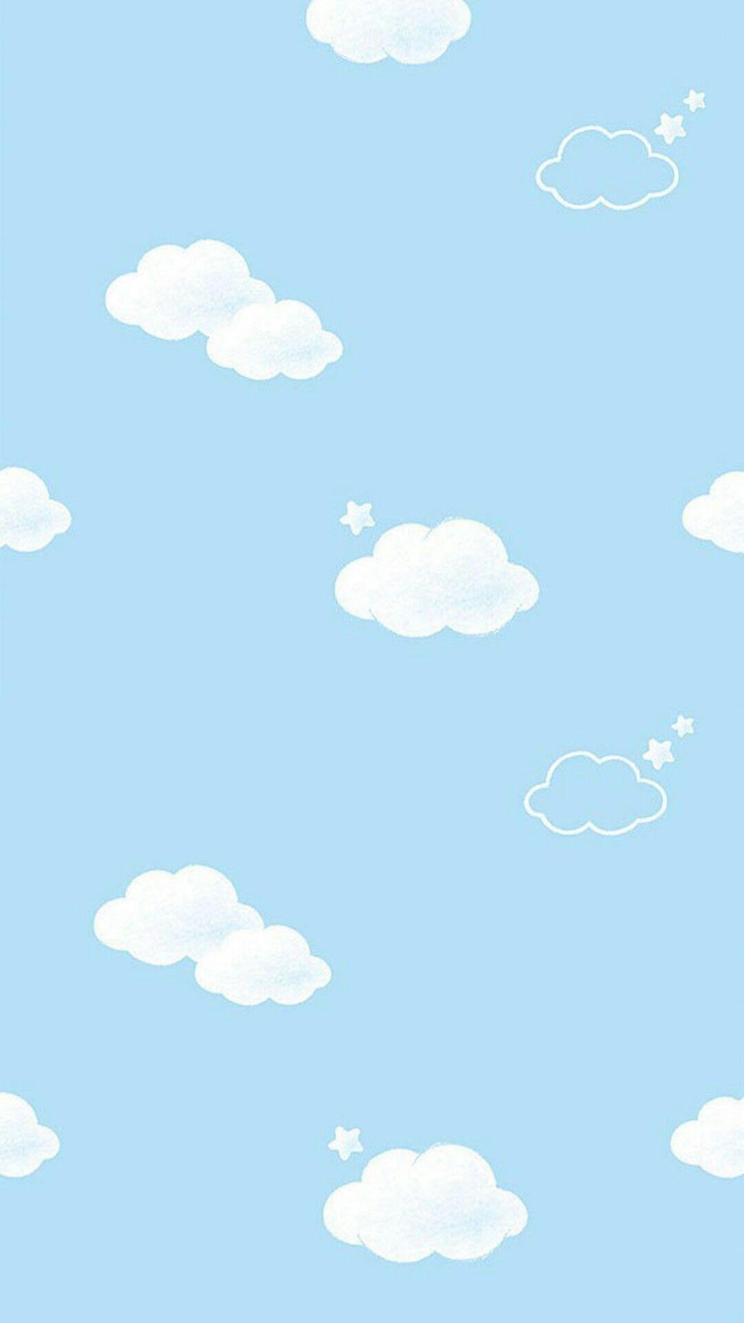 Hình nền mây xanh dễ thương cho điện thoại