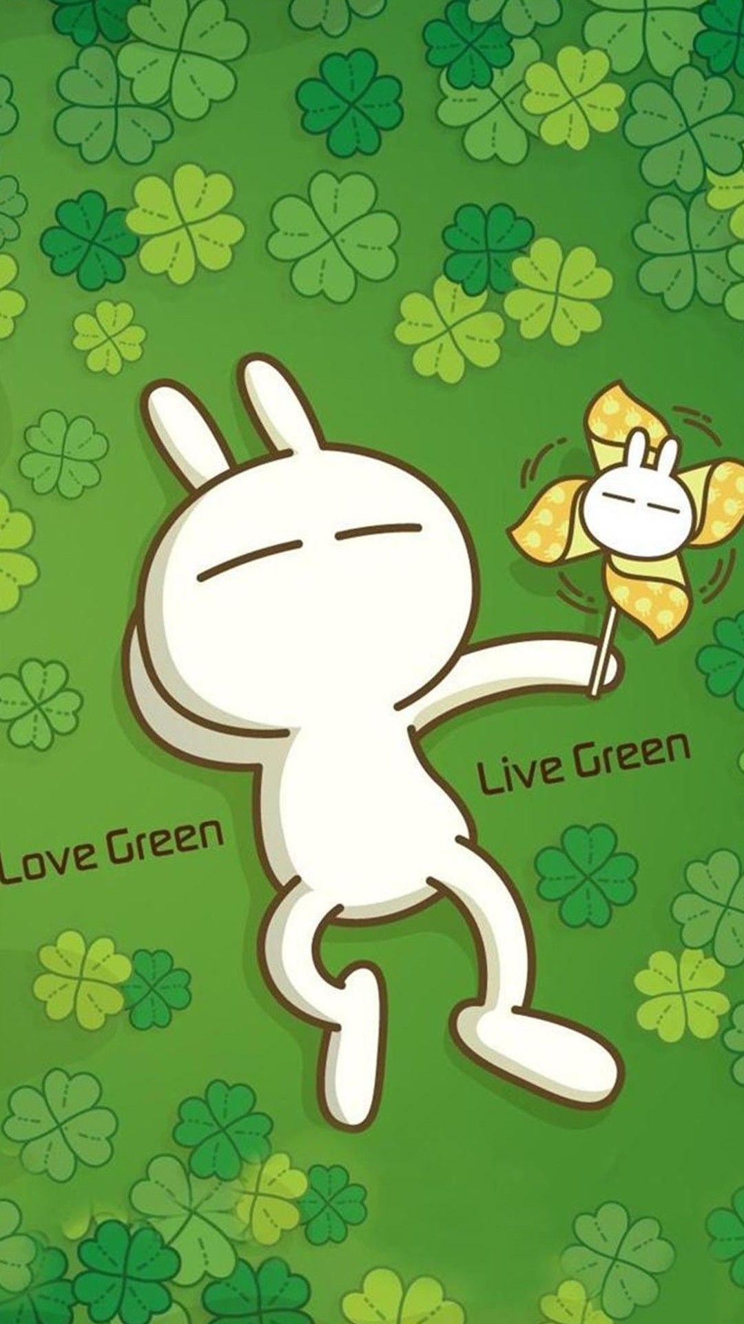 Hình nền xanh lá cây dễ thương cho Samsung