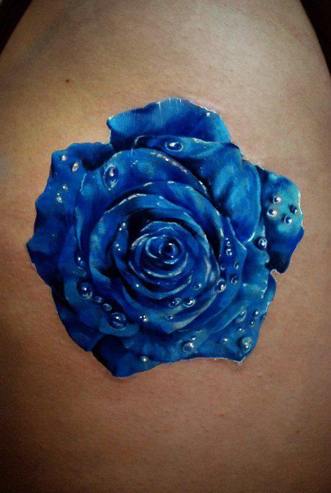 Hình xăm 3D hoa hồng xanh