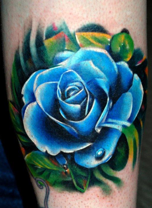 Hình xăm bông hoa hồng xanh 3D