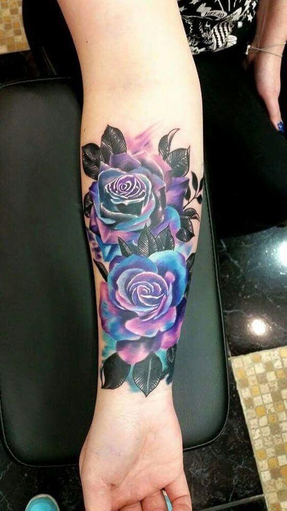 Hình xăm đẹp về những bông hồng xanh