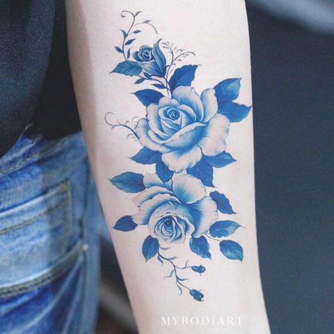 Mẫu hình xăm 3D hoa hồng xanh