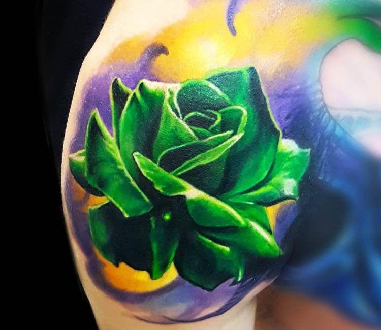 Mẫu hình xăm hoa hồng xanh lá