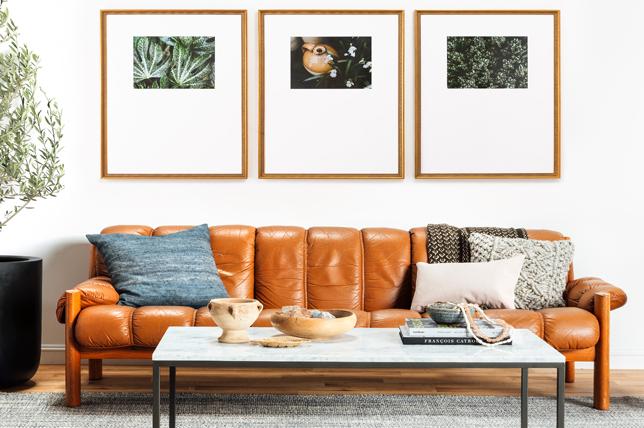 Mẫu trang trí đơn giản phòng khách với khung ảnh