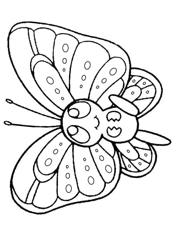 Tranh tô màu con bướm ngộ nghĩnh đẹp