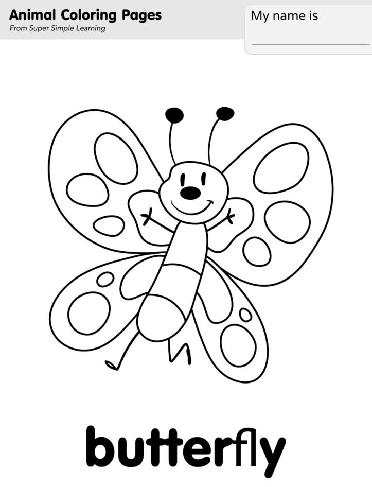 Tranh tô màu con bướm tinh nghịch cho bé