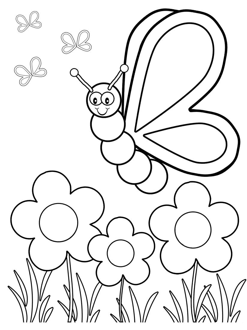 Tranh tô màu con bướm và hoa đẹp