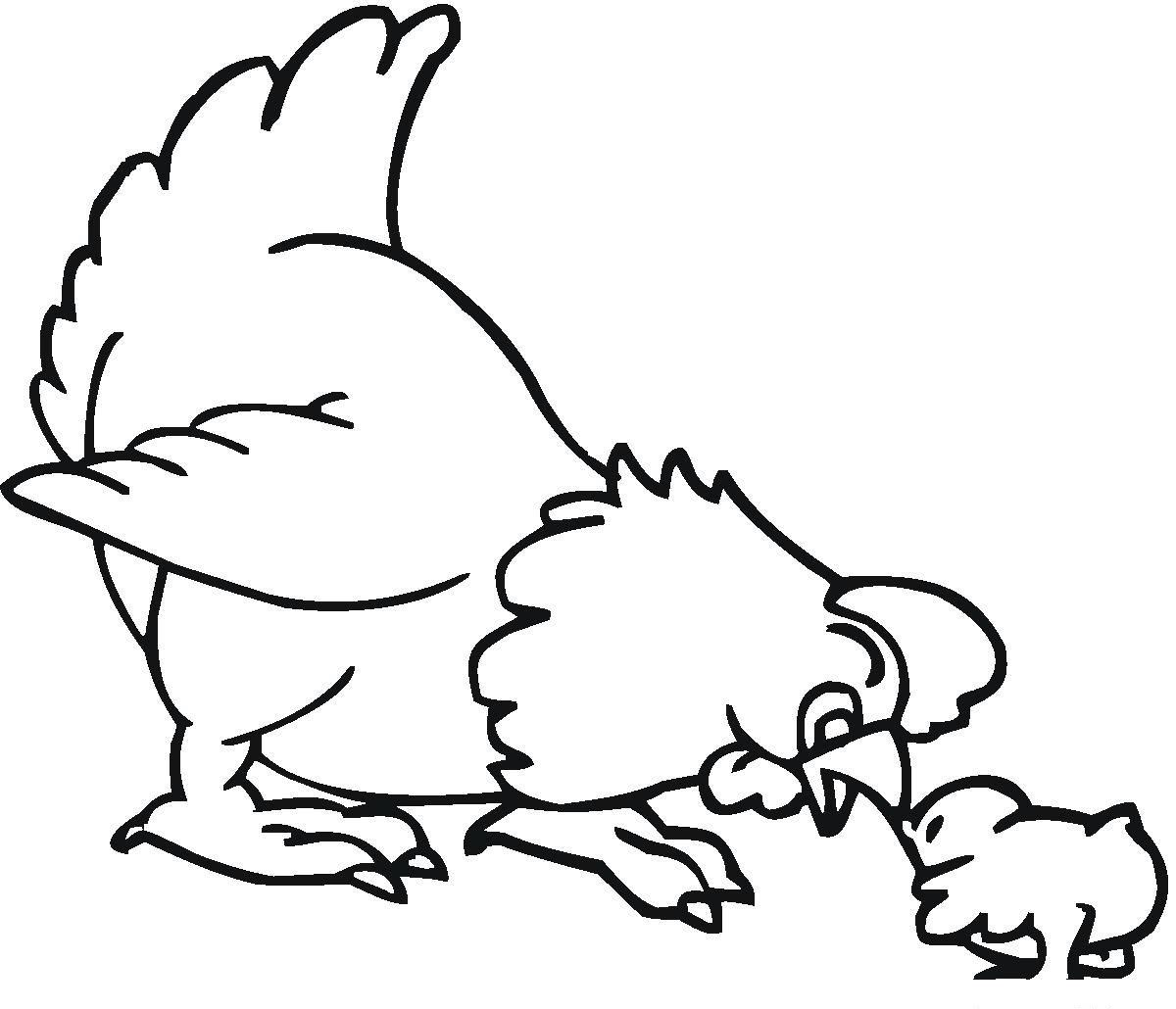 Tranh tô màu con gà đáng yêu