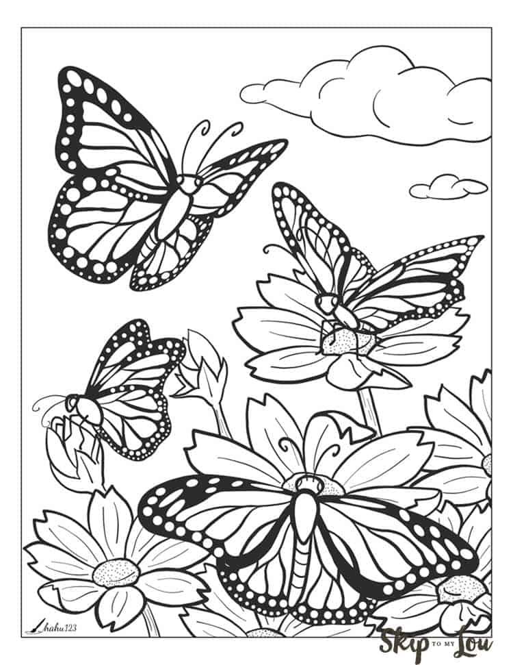 Tranh tô màu đán bướm đẹp