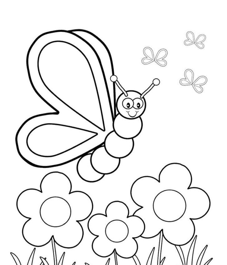 Tranh tô màu đàn bướm và hoa đơn giản đẹp nhất