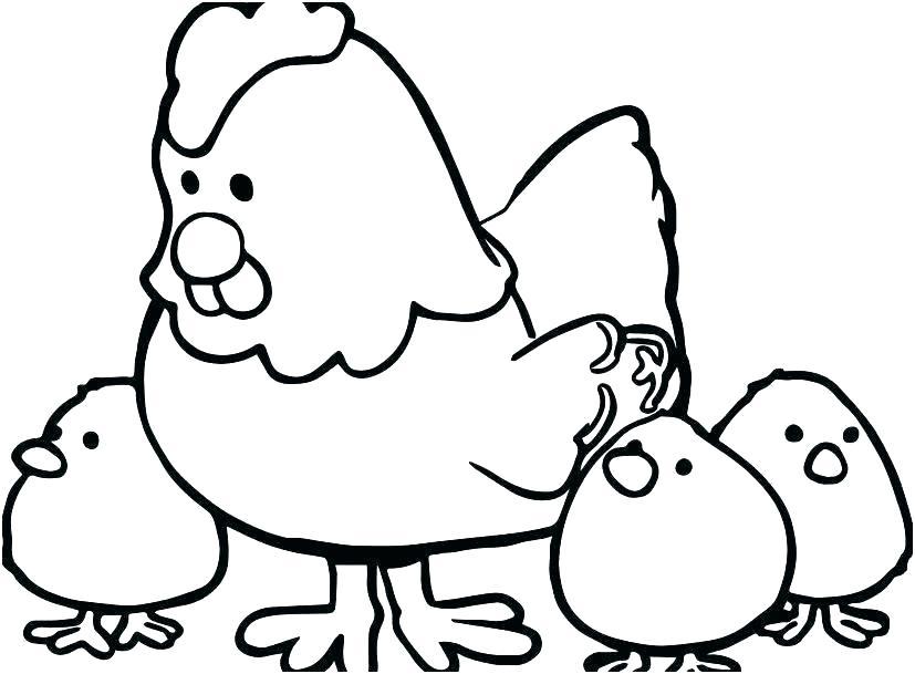 Tranh tô màu đàn gà con cho bé